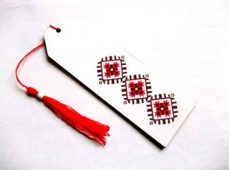 Motiv traditional maci stilizati, semn de carte flori rosii 35061