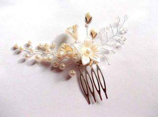 Pieptan mireasa perle si margele de sticla, pieptan mireasa 35107 fundal alb