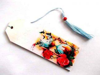 Semn carte flori, clepsidra si pasari, semn de carte lemn 35142 pe fundal alb