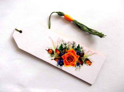 Semn carte flori verde, portocaliu si mov, semn carte lemn 35140