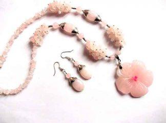 Bijuterii set cuart roz, cadou femei cuart 35214
