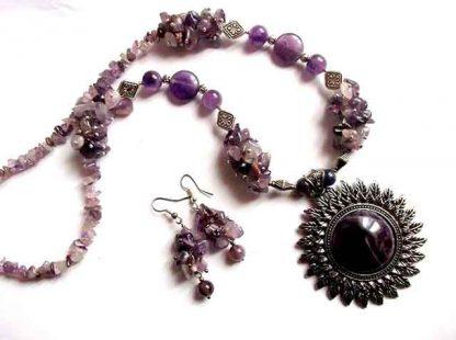 Set mov bijuterii, set cadou ametist 35215