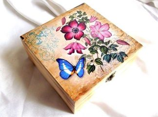 Cutie vintage fluture si flori, cutie de lemn cadou 35255