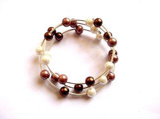 Bratara perle maro deschis, maro inchis si alb, bratara perle sticla 36036