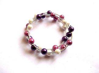Bratara perle mov, violet si alb, bratara perle sticla 36035
