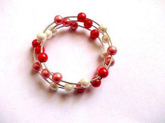 Bratara perle rosii, roz si albe, bratara perle sticla 36037