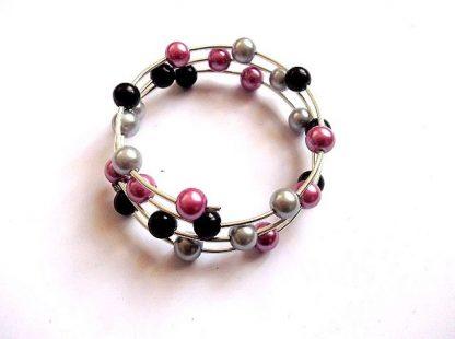 Bratara perle roz, negre si gri, bratara perle sticla 36038