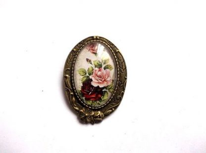 Brosa cu trandafiri roz si rosii, brosa sticla 36027