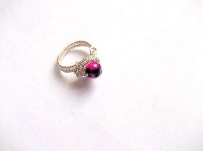 Inel roz femei, inel piatra semipretioasa agata 36108