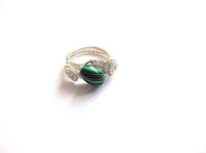 Inel verde cu negru, inel malachit femei 36111