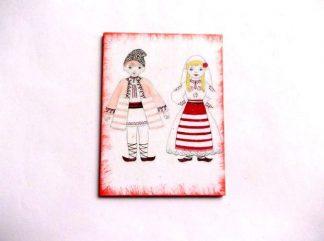 Magnet barbat si femeie costum traditional, magnet frigider 36001