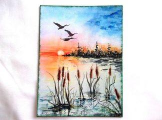Apus de soare si pasari in zbor pe deasupra apei, tablou pe panza 36320