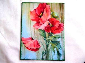 Buchet de maci rosii, tablou pe panza 36316