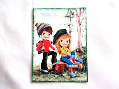 Doua fete in drumetie la munte, tablou pe panza 36310