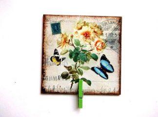 Fluturi si trandafiri galbeni sub forma de carte postala, tablou pe panza 35934
