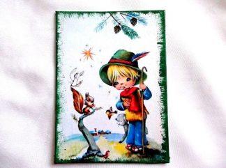 Mic pastor cu un miel, o veverita si cateva pasari, tablou lemn 36308