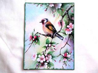Pasare exotica intr-un copac inflorit, tablou pe panza 36319