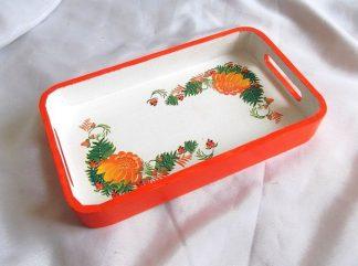 Tava cu flori portocalii in interior si portocaliu pe margine, tava lemn 36290