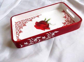 Tava cu trandafir rosu si elemente ornamentale, tava lemn 36293