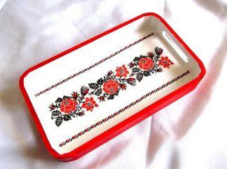 Tava motiv traditional trandafiri rosii, tava lemn 36292