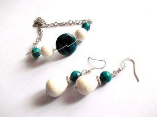 Bijuterii coral alb si criocolla, set cadou femei 36832