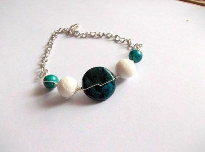 Bratara criocolla verde si coral alb, bijuterie cadou 36834