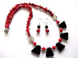 Cadou set coral rosu si onix negru, bijuterii femei 36818