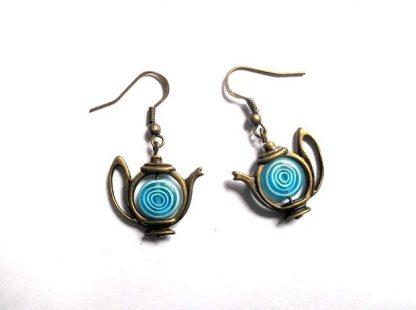 Ceainice miniatura murano, cercei ceainice albastre 34630