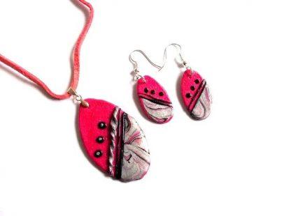 Set cercei si pandantiv, set fimo roz, negru si gri 36715