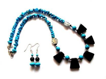 Turcoaz si onix set bijuterii, set cadou deosebit femei 36816