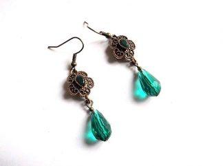 Cercei cu cristale verzi, cercei cadou femei 37128