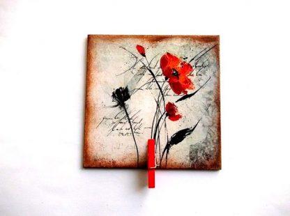 Decoratiune maci rosii pe fundal vintage, magnet frigider 37035