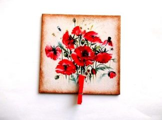 Magnet maci rosii, magnet frigider cu model floral 37038