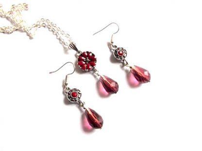 Set bijuterii cristale rosu si roz, set cadou 37123