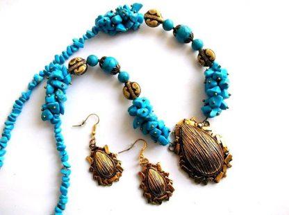 Set bijuterii modern, turcoaz si elemente decorative gen lemn 37043