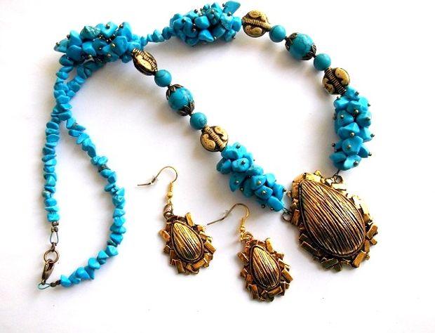 Set bijuterii modern, turcoaz si elemente decorative gen lemn 37043 poza 2