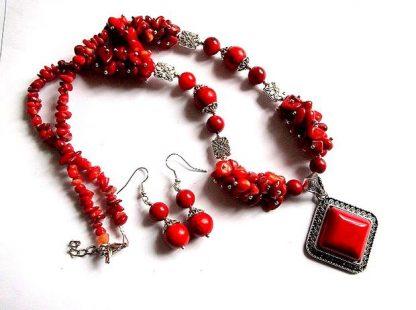 Set cadou coral si howlit rosu, set bijuterii femei 37134