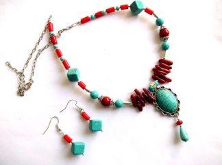 Set cadou coral si turcoaz, bijuterie femei 37046