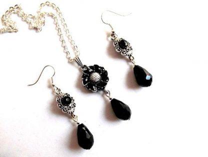 Set cristale negre, set bijuterii cadou femei 37100