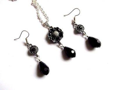 Set pandantiv si cercei cristale negre, set bijuterii 37124