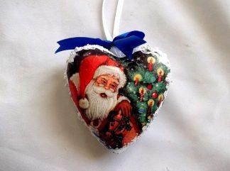 Glob brad cu Mos Craciun sub forma de inima, glob sarbatori iarna 35338
