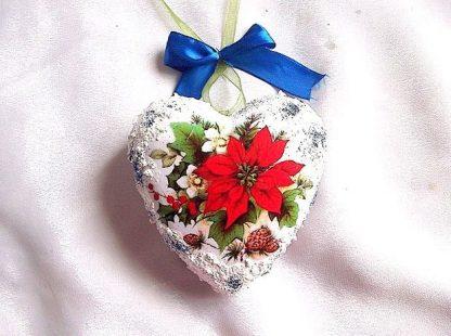 Glob inima cu flori albe si rosii, glob polistiren 35464
