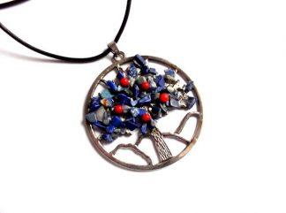 Pandantiv arborele vietii, colier pandantiv lapis lazuli si coral 38033