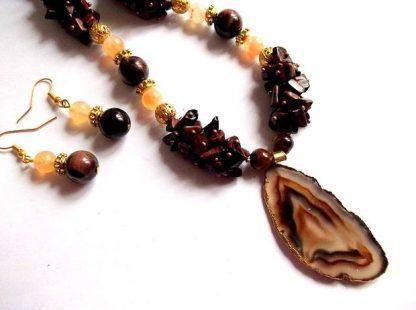 Set bijuterii agate si jasper, set cadou femei 36587 poza marita