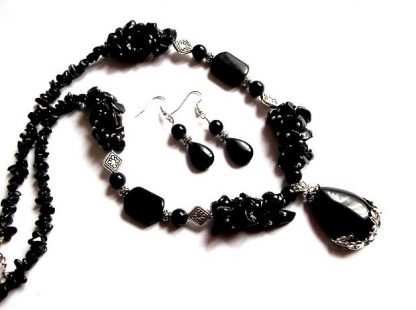 Set pietre negre, set cadou femei onix 36612