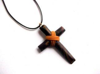 Cruce pandantiv maro inchis si portocaliu, colier pandantiv cruciulita 39008