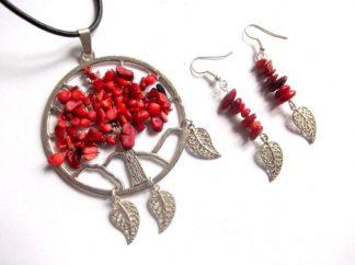 Arborele vietii coral rosu, set bijuterii cadou femei 38987