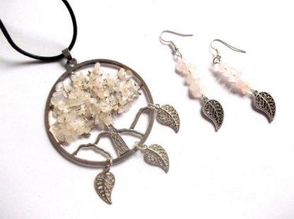 Arborele vietii cu cuart roz, set bijuterii metal si pietre 38988