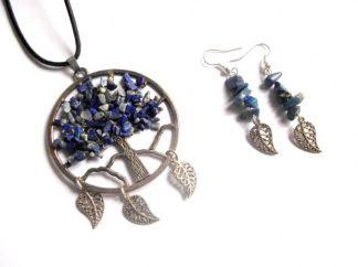 Arborele vietii cu mov si albastru, set bijuterii lapis lazuli 38956