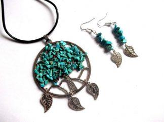 Arborele vietii din pietre turcoaz si metal, set bijuterii 38989